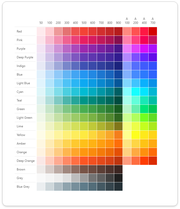 Material Design Color Palette For Adobe XD
